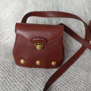 Ferragamo mini Tan Studded Leather Crossbody Auth.